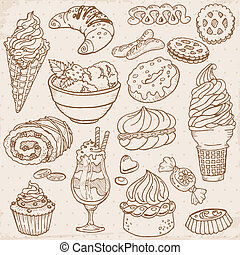 conjunto, postres, -, mano, dulces, vector, dibujado, pasteles