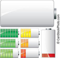 conjunto, potencia, actuación, baterías, corriente, vector, bajo, carga, blanco, etapas, lleno