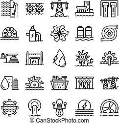conjunto, potencia, contorno, estilo, hydro, iconos
