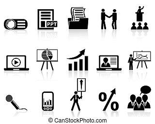 conjunto, presentación, iconos del negocio
