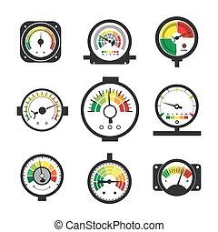 conjunto, presión, manómetro, calibrador, medida
