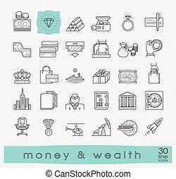 conjunto, prima, riqueza, dinero, icons., línea, calidad
