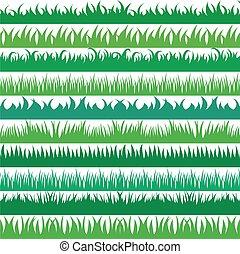conjunto, primavera, colección, borders., fondo verde, horizontal, pasto o césped, blanco