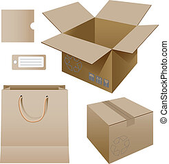 conjunto, productos, cartón