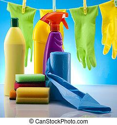 conjunto, productos, limpieza