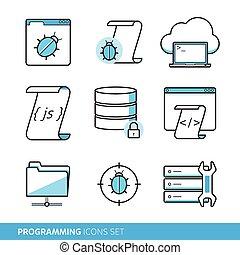 conjunto, programación, iconos