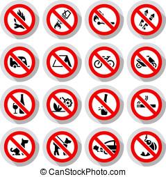 conjunto, prohibido, señales, en, papel, pegatinas
