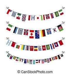 conjunto, proporciones, soberano, aislado, estados, banderas, guirnaldas, mundo, blanco, verdadero