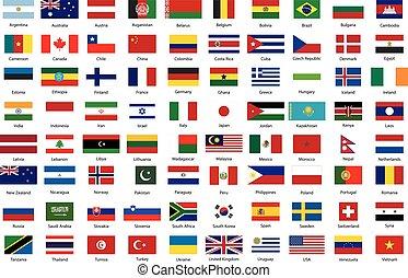 conjunto, proporciones, soberano, estados, banderas, mundo, blanco, verdadero