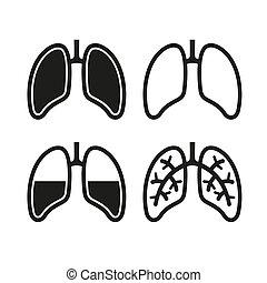 conjunto, pulmón, humano, iconos