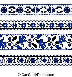 conjunto, puntada, patrón, ornamento, cruz, flor, étnico