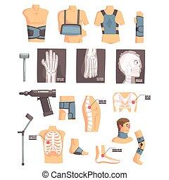conjunto, radiografías, iconos, médico, caricatura, ortopédico, otro, cirugía, attributes, objects., ortopedia, herramientas, vendas