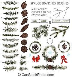 conjunto, ramas, conos, cepillos, pino, arco, picea