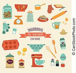 conjunto, receta, vector, cocina, diseño, icono
