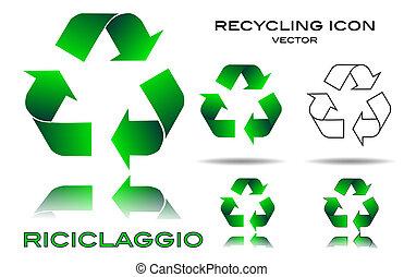 conjunto, reciclaje, icono
