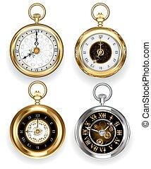 conjunto, redondo, reloj
