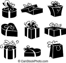 conjunto, regalo, iconos, cajas, negro, ilustraciones, blanco