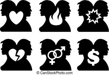 conjunto, relación humana, icono