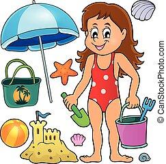 conjunto, relacionado, tema, objetos, niña, playa