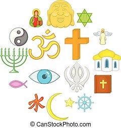 conjunto, religión, estilo, caricatura, iconos