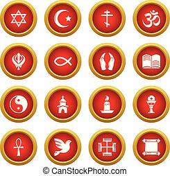 conjunto, religión, estilo, iconos simples