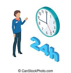 conjunto, reloj, ilustración, persona, director, vector
