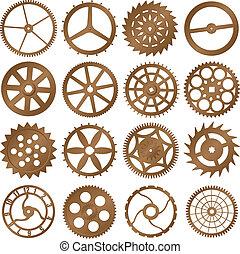 conjunto, -, reloj, vector, diseño, engranajes, elementos