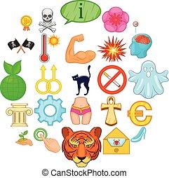 conjunto, representación, estilo, caricatura, iconos