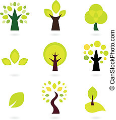 conjunto, resumen, aislado, árboles, vector, blanco