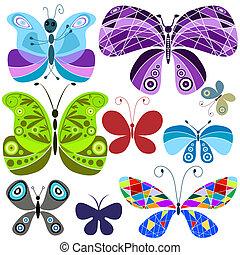 conjunto, resumen, colorido, mariposas, (