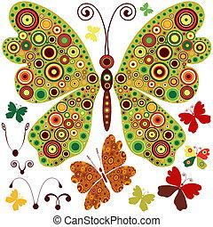 conjunto, resumen, mariposas