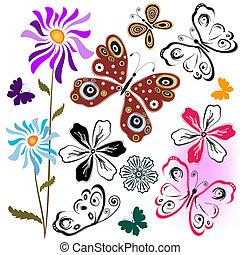 conjunto, resumen, mariposas, y, flor