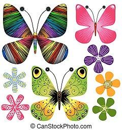 conjunto, resumen, mariposas, y, flores