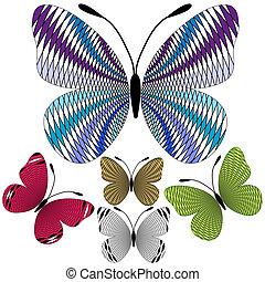 conjunto, resumen, mosaico, mariposas