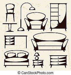 conjunto, retro, interior, icono, style., muebles