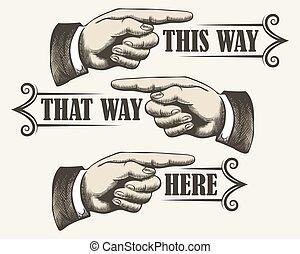 conjunto, retro, señalar los dedos