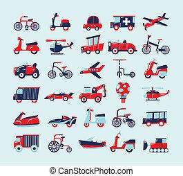 conjunto, retro, transporte, iconos