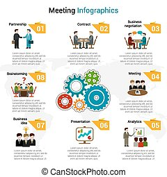 conjunto, reunión, infographics