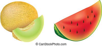 conjunto, rojo, melones