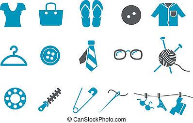 conjunto, ropa, icono