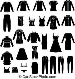 conjunto, ropa, mujeres