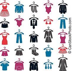 conjunto, ropa, vector, colección, icono