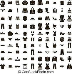 conjunto, ropa, vector, icono