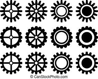 conjunto, ruedas dentadas, vector, icono, industrial