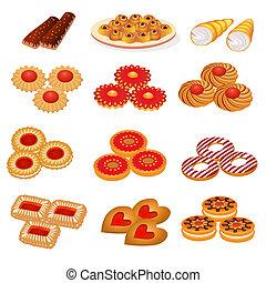 conjunto, sabroso, arena, galletas, y, pastel