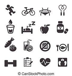 conjunto, salud, icono