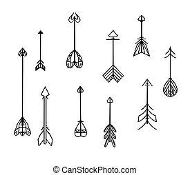 conjunto, scrapbooking, arrows., invitaciones, boho, vector...
