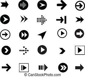 conjunto, señal, icono flecha