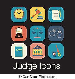 conjunto, señal, justicia, juez, ley, icono