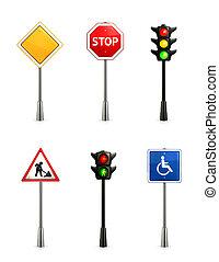 conjunto, señales carretera